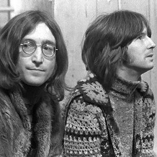 John Lennon and Eric Clapton at the Rolling Stones Rock'n Roll Circus, December 1968.
