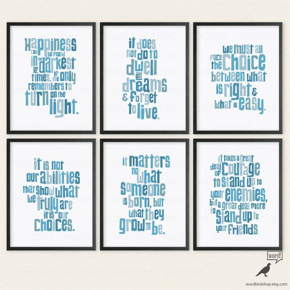 Harry Potter, Dumbledore Quotes, 6 Print Poster Collection, Teen Bedroom wall decor, Harry Potter poster, Harry Potter Quotes Set
