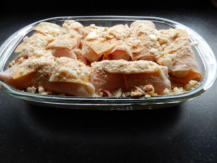 witlofschotel met ham, kaas en aardappelpuree