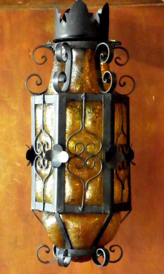 Rare Mexican Craquelle Glass And Wrought Iron Hanging