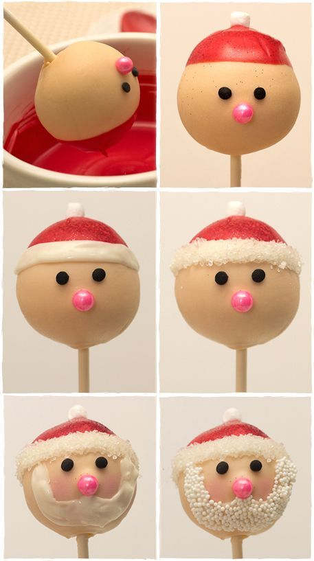 The most adorable Christmas cake pops EVER! How to Make Santa Cake Pops Step-By-Step tutorial.