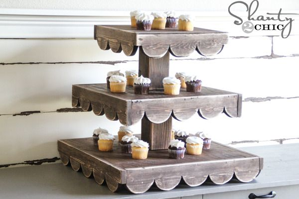 fancy rustic cupcake stand wood projects pinterest