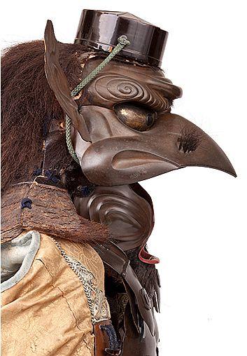 Armadura con las características de un tengu ( tengu Tosei gusoku ) último período de Edo , 1854. Hierro , laca, de fibra vegetal, de piel de oso , cuero , plumas y telas. El Ann y Gabriel Barbier- Mueller , de Dallas.
