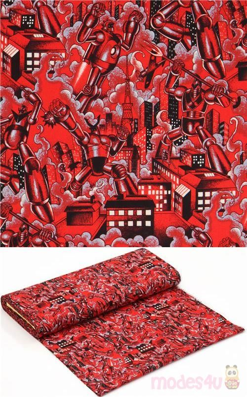 Tessuto Rosso Alexander Henry Robot In 2020 Red Fabric Halloween Fabric Fabric