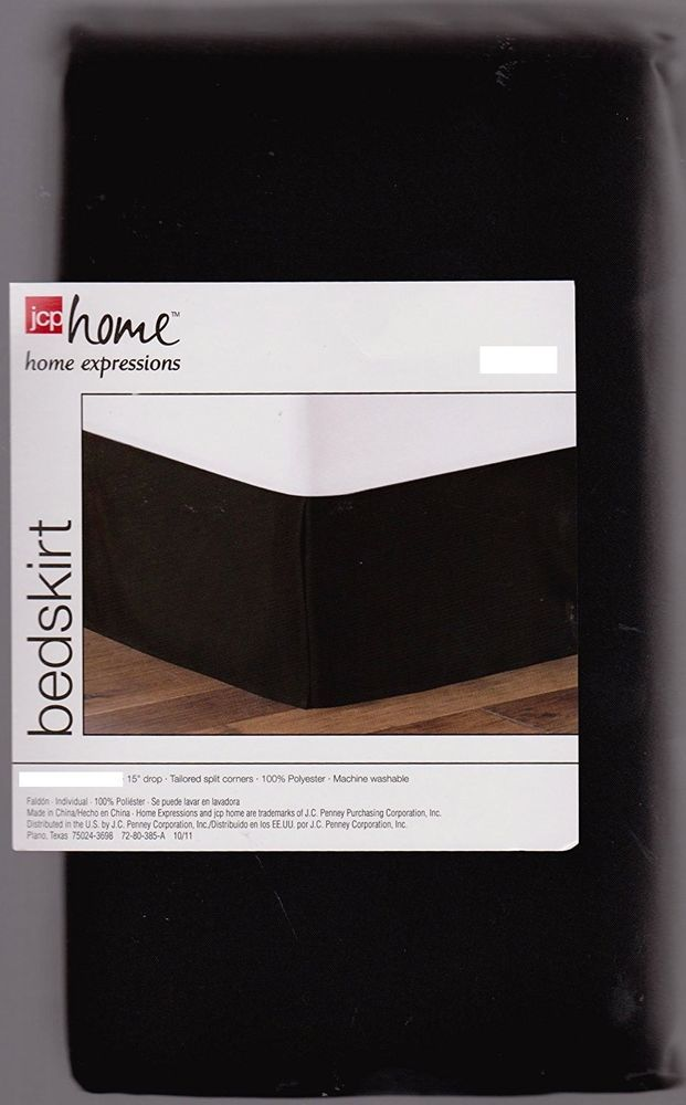 JCP Home Expressions Queen Size Bedskirt Jet Black NEW Dust Ruffle Bed Skirt  #JCPenney #Contemporary