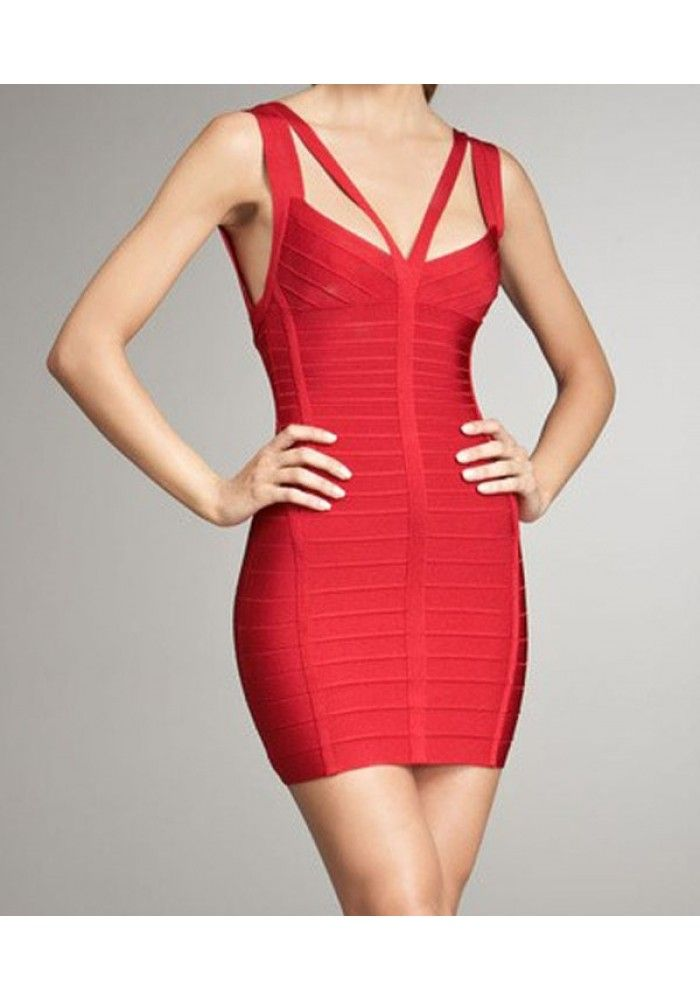 Laila Ribbed Hollow out Red Bandage Dress