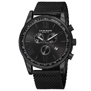 Akribos XXIV Men's Swiss Quartz Chronograph Stainless Steel Mesh Black Strap Watch - Free Shipping Today - Overstock.com - 17174986