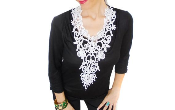 White Lace statement necklace Sporty chic Victorian by HAREMDESIGN