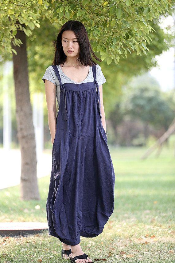 Delantal de lino vestido  vestido azul largo tirantes por YL1dress