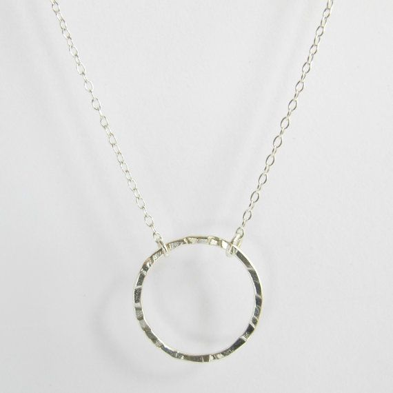 Hammered Circle Pendant Necklace Circle by WildFawnJewellery