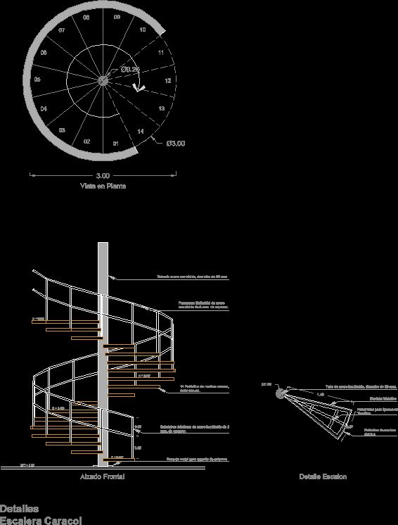 Detail type spiral staircase dwgautocad drawing Spiral stair cad