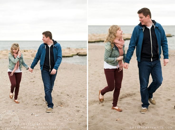 Walking together on the beach neighbourhood. Toronto Beaches engagement photos. #sweetheartempirephotography