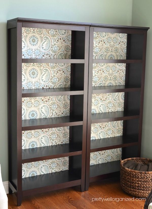 This is one of the coolest things I've ever seen!!! I'd never be able to use it for real storage after I did this! ~How to decoupage a bookcase with fabric