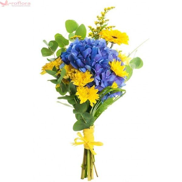 Perfect duo - Buchet din hortensii si crizanteme