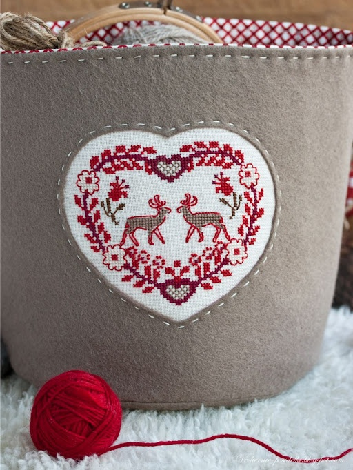 Cross stitch heart on felt tote