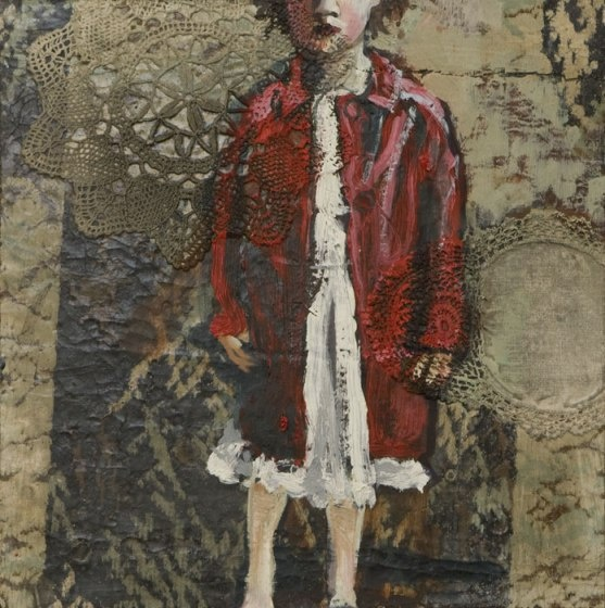 """""""The Arrival"""" by Sophie Gralton. Oil & collage on canvas."""