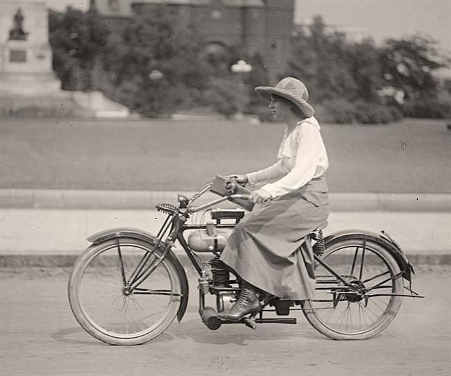 """1917...she loved her motorbike"" - not what you usually think of as a classic ~:^]>"