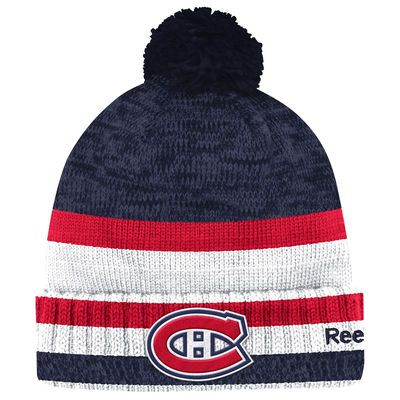 Men's Montreal Canadiens Reebok Navy/Red Center Ice Cuffed Knit Hat