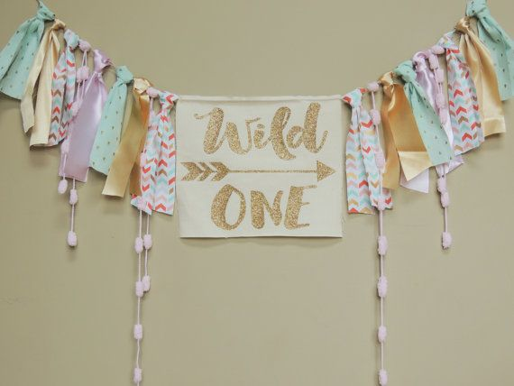Wild One Boho Girls Birthday Banner Coral Mint Gold Pink Any Saying Any Color Theme Aztec Tribal Cake Smash Nursery Boho princess shabby