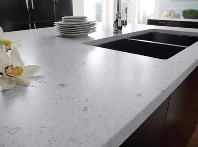 We finally picked a counter top. Blanco River Quartz by Silestone. Fingers crossed!