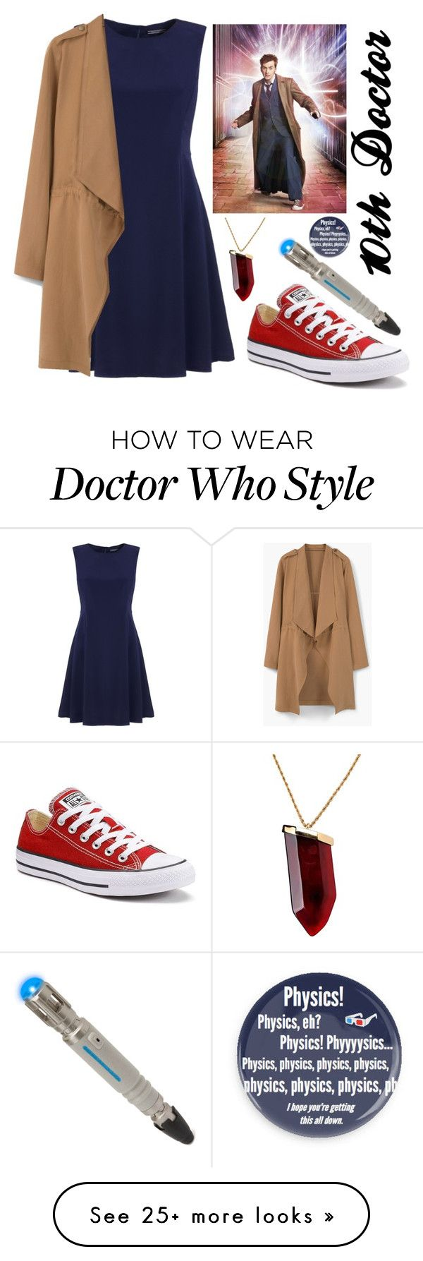 """Doctor Who Halloween Costume or something, 10th Doctor"" by lizacatsforever on Polyvore featuring Tommy Hilfiger, MANGO, Converse and Kenneth Jay Lane"
