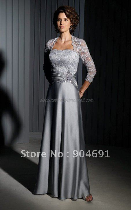 2017 Mother Of The Bride Dress Silver Gry Satin Lace Floor Length Evening Beaded Top 3 4 Long Sleeves Formal In Mot