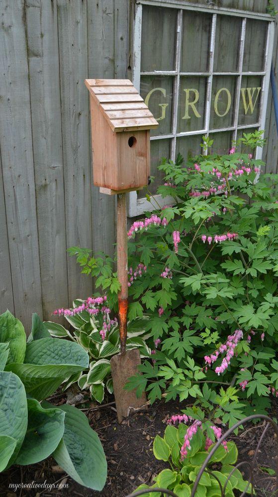 Hometalk | Old Shovel Bird House Stand