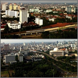 Jakarta, capital city of INDONESIA, from above.
