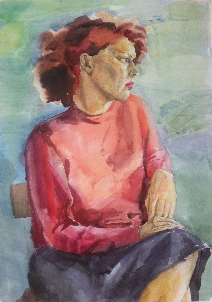 Женский портрет, 40х60 см, бумага, акварель