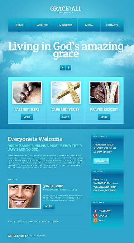Template 40747   Christian U0026 Church HTML5 Responsive Website Design   Blue  Color Theme