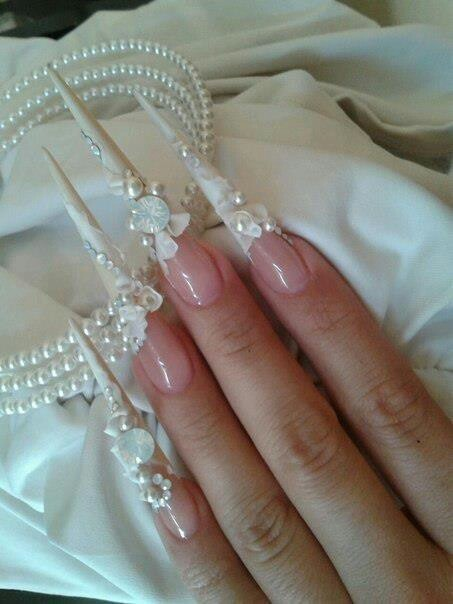 Wedding stiletto nail art