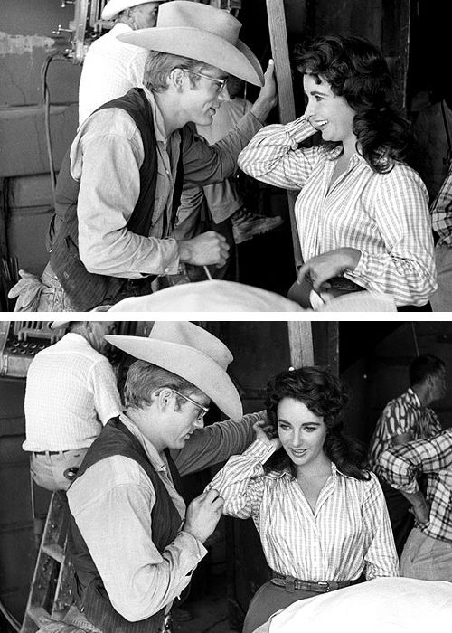 Elizabeth Taylor & James Dean on the set of Giant 1956