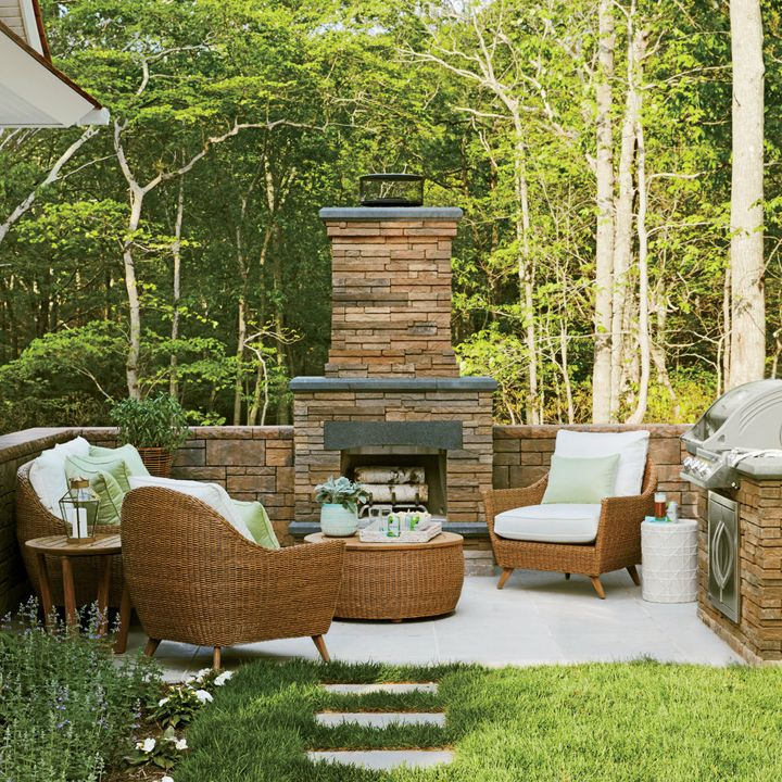 patio + outdoor fireplace | 2016 Coastal Living Magazine Hamptons Showhouse