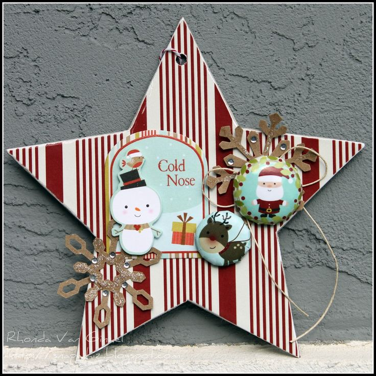 Ornaments. Ignore the recommended craft product supply list. All you really need is the chipboard base shape. Cut out cute images from damaged thrift store kids books or magazines.