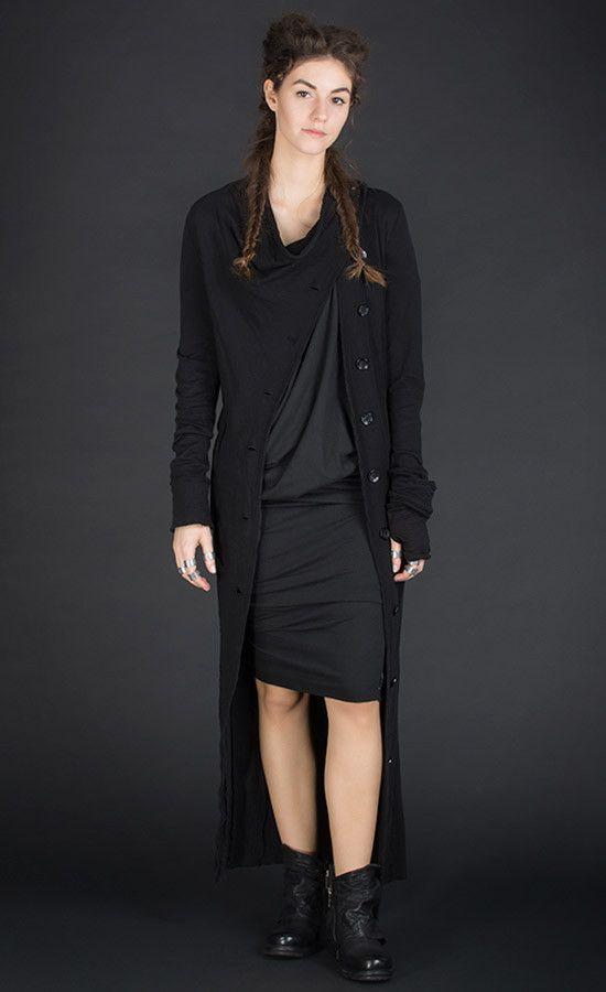 LONGET -  Long jersey black coat with asymmetric front  | Studio B3 |