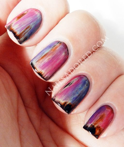 grunge nails: Grunge Nails, Nails Art, Colors Club, Northern Lights, Black Nails, Nails Polish, Layered Colour, Paintings Brushes, Nails Tutorials