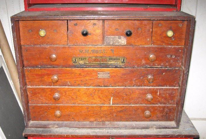 Found on EstateSales.NET: Vintage Wood Snap-on tool chest.