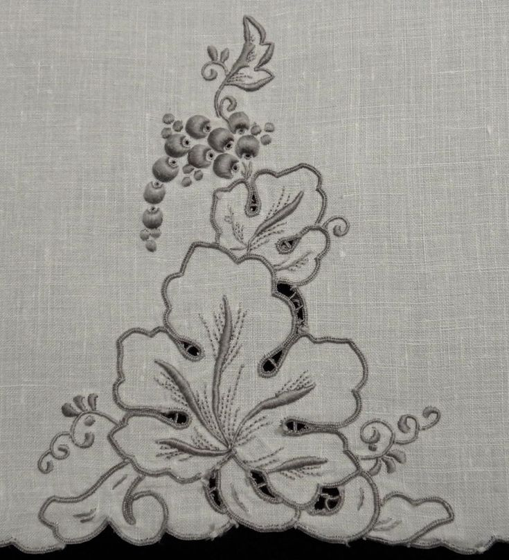 Pr Vintage Madeira Grape Embroidery Hand Towels - Ivory & Taupe Color - Beauties