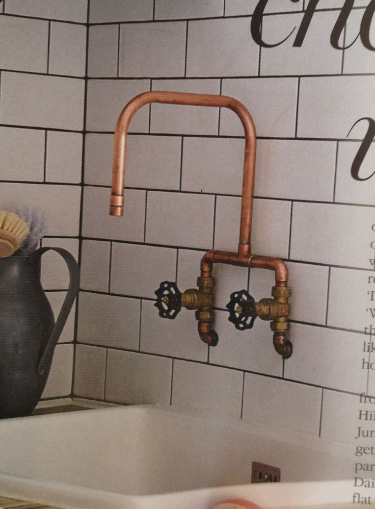 Copper pipe faucet. - Basement bath                                                                                                                                                      More