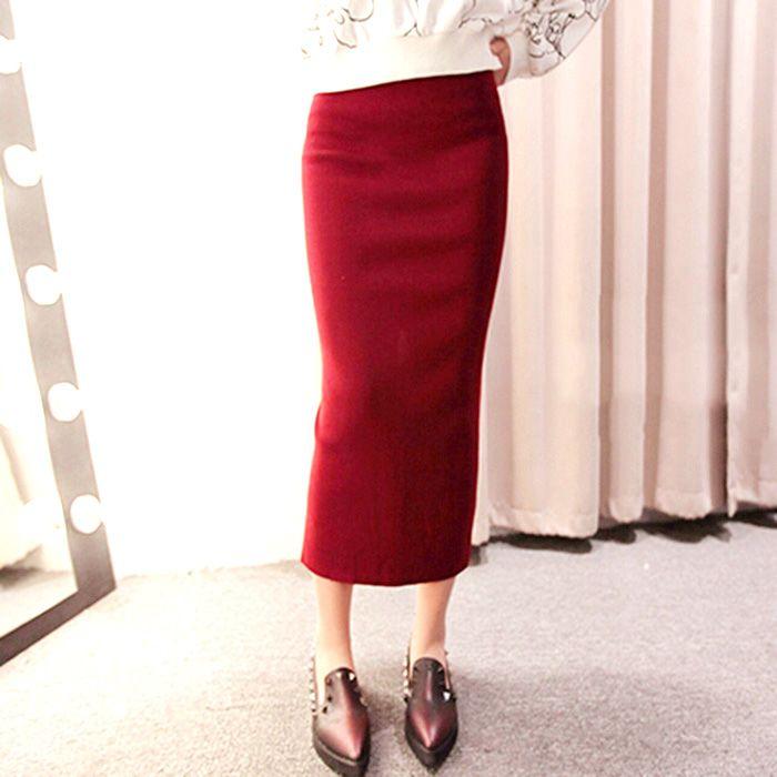 Бесплатная доставка весна осень элегантный юбки вязание тонкий высокая талия сплит женщины длинные юбки 4 цветов один размер купить на AliExpress