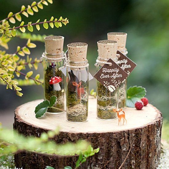 Faerie terrarium favors for woodland parties and events.