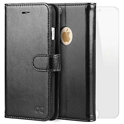 iPhone6s ケース / iPhone6 ケース OCASE 手帳型ケース 強化ガラスフィルム付き 財布型 スタンド機能 マグネット式 カード収納 ポケットホルダー付き ブラック