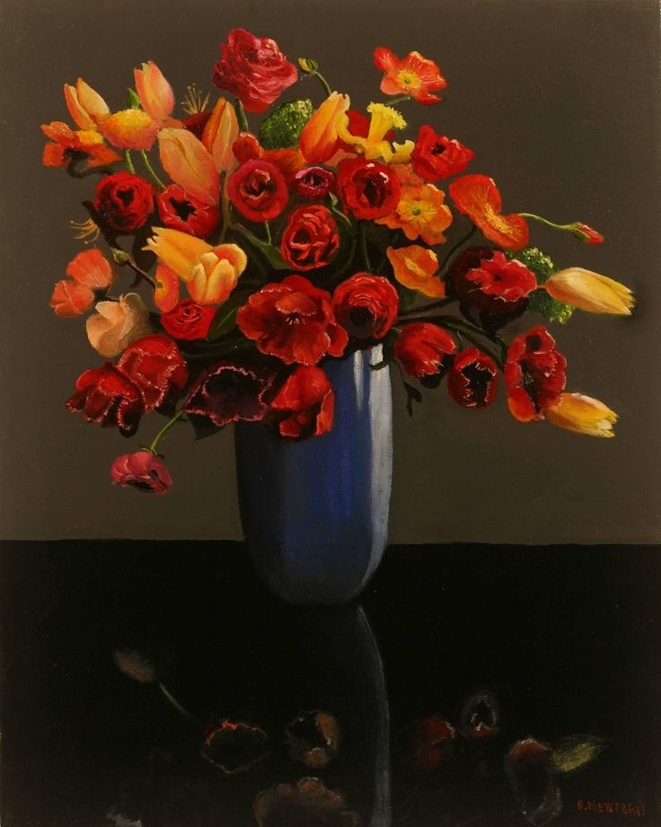 Flowers in a Blue Vase | From a unique collection of still-life paintings at https://www.1stdibs.com/art/paintings/still-life-paintings/