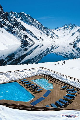 Portillo Ski Resort, #Chile. #mountains #snow #pool #lake #vacation #reflection
