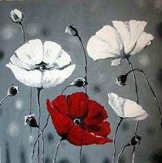 Große abstrakte Malerei, Original Öl-Leinwand-Kunst, Mohnblumen, Wand Kunst