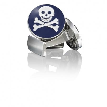 $75 Skultuna Cuff Links - Skull & Bones in Blue/White - hardtofind.