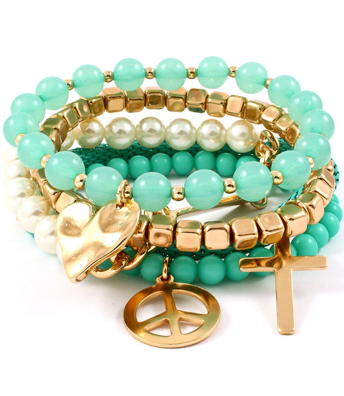 Turquoise Pearl Stackable Bracelet