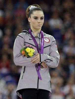 McKayla Maroney as she places second in the 2012 London Summer Olympics.  An analysis of the facial expressions of Olympic athletes on the medal stand show that, on average, bronze medalists actually appear happier than silver medalists. The bronze winners were just glad to be on the podium and to have participated in the Olympics, while the silver medalists were focused on the gold medal that had slipped through their fingers.