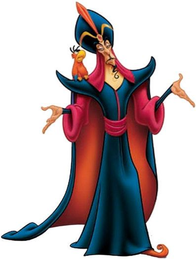 Jafar was the Royal Vizier of Agrabah and the main antagonist in Disney's 1992 film Aladdin and its 1994 sequel. He also appeared in an episode of Disney's 1998 television series Hercules. Jafar is portrayed as an amoral psychopath who'll not hesitate to destroy anyone he perceives as a threat to his own sinister designs. He is an official member of the Disney Villains.