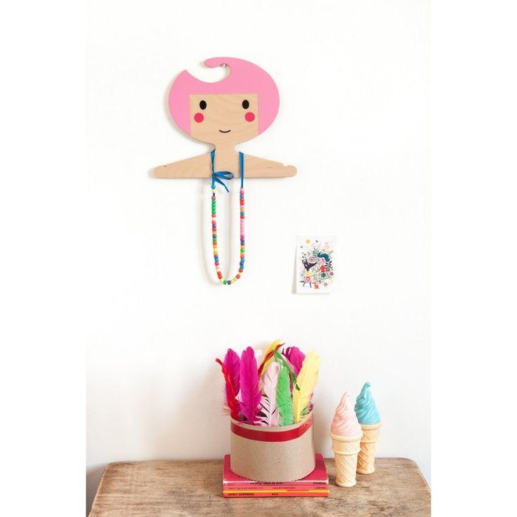 Petit Monkey Ξύλινη Κρεμάστρα - Ροζ